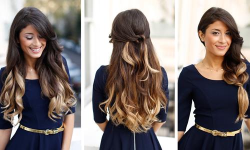 Омбре для длинных темных волос