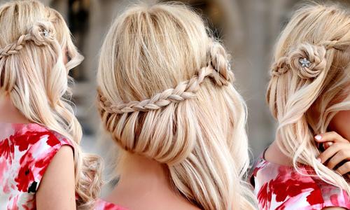 Вечерняя прическа на длинные волосы с плетением