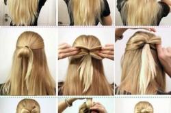 Этапы создания банта из волос сзади