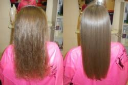 """Эффект """"до"""" и """"после"""" бразильского выпрямления волос"""