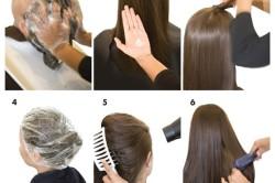 Этапы выпрямления волос кератином