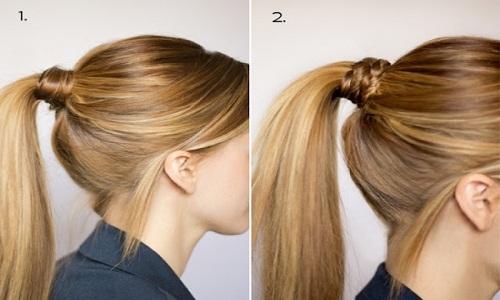 Прическа хвост с прядкой вокруг резинки на средние волосы