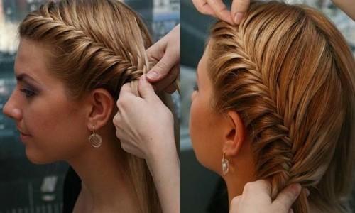 Плетение косички на средние волосы