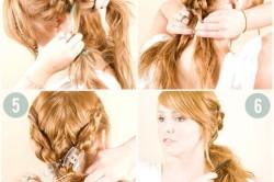 Прическа на средние волосы- две косы в хвост