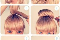 Простая прическа на длинные волосы с челкой