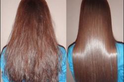 Рисунок 1. Сравнение волос до и после выпрямления кератином