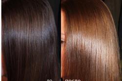 Волосы до и после процедуры глазирования