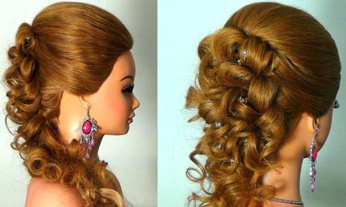 Фото 1. Вечерняя прическа для длинных волос
