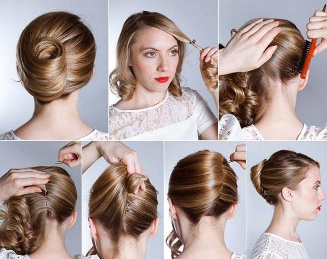 Как сделать высокую прическу на волосы до плеч