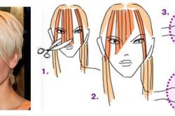 Этапы стрижки косой челки