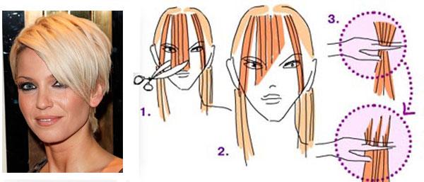 Как подстричь челку на две стороны видео