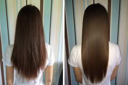 """Волосы """"до"""" ламинирования и """"после"""""""