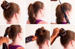 Этапы создания пучка из волос с использованием платка