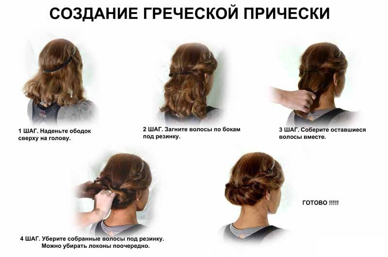 Греческие прически на длинные волосы фото своими руками