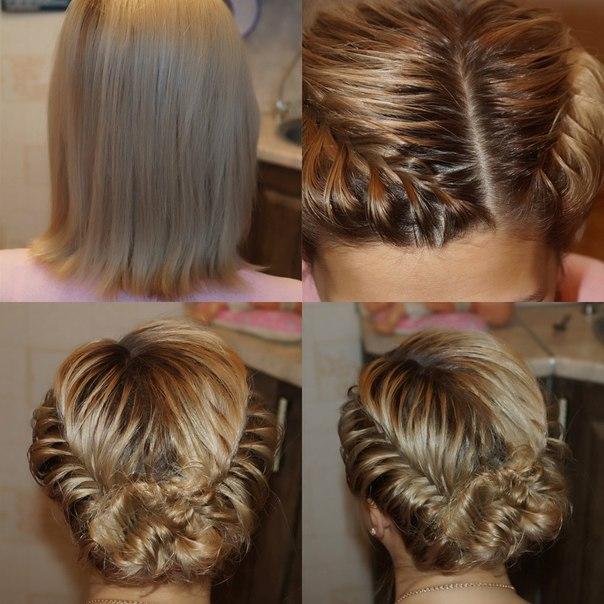 Плетение причесок на средние волосы в домашних условиях